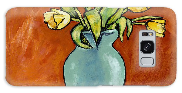 Yellow Tulips In A Turquoise Vase Galaxy Case