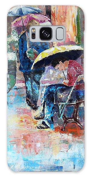 Yellow Umbrella Galaxy Case by Janet Garcia