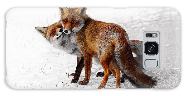 Cold Day Galaxy Case - Yin Yang _ Red Fox Love by Roeselien Raimond