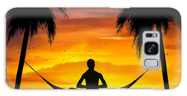 Yoga At Sunset Galaxy Case