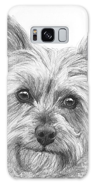 Yorkie Drawing Galaxy Case by Kate Sumners