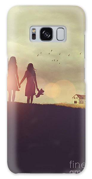 Galaxy Case featuring the photograph Young Girls In Silhouette Walking In Grass Towards Farm by Sandra Cunningham