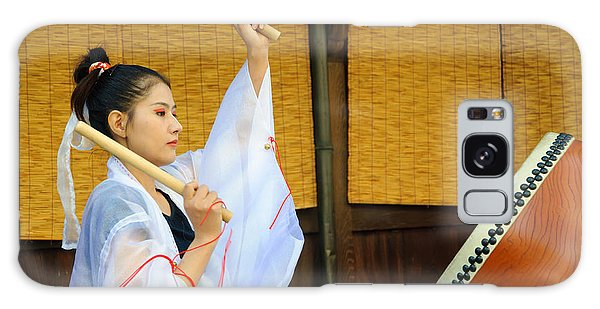 Young Japanese Lady In Period Costume Playing Taiko Drum Galaxy Case