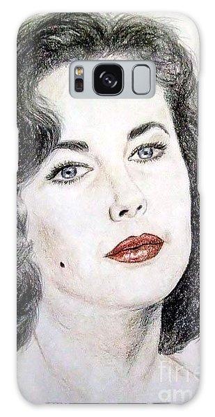 Young Liz Taylor Portrait Galaxy Case by Jim Fitzpatrick