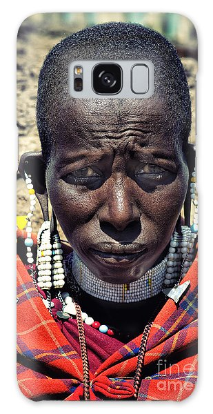 Portrait Of Young Maasai Woman At Ngorongoro Conservation Tanzania Galaxy Case by Amyn Nasser