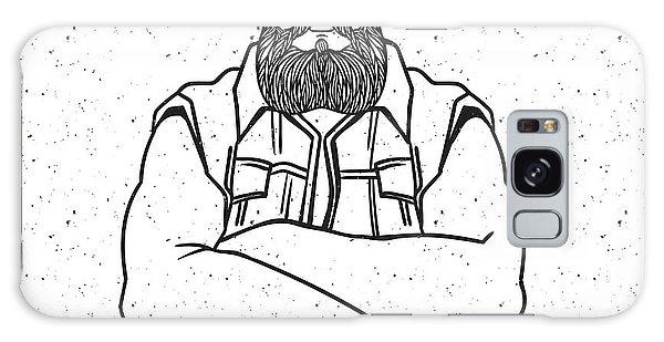 Hair Galaxy Case - Young Man Bearded Biker. Hand Drawing by Shik shik
