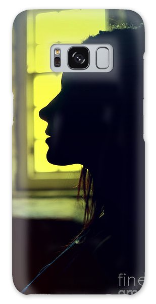 Young Woman Silhouetted Profile Galaxy Case