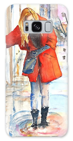 Young Woman Walking Along Venice Italy Canal Galaxy Case