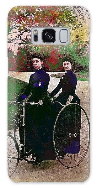 Young Women Biking Galaxy Case by Charles Shoup
