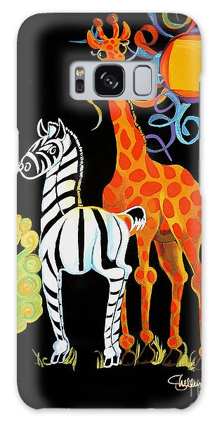 Zebra And The Giraffe Galaxy Case by Shelley Overton