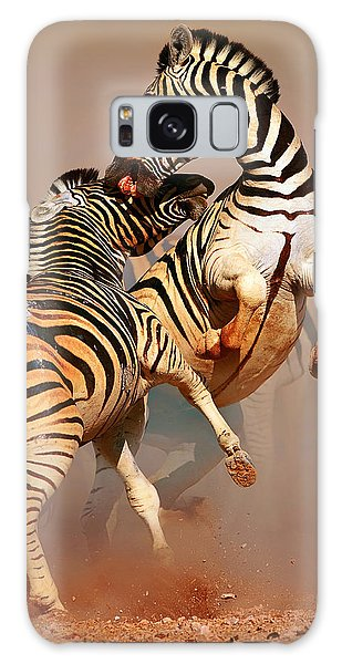 Zebras Fighting Galaxy Case by Johan Swanepoel
