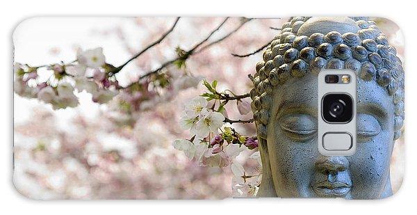 Zen Buddha Meditating Under Cherry Blossom Trees Galaxy Case