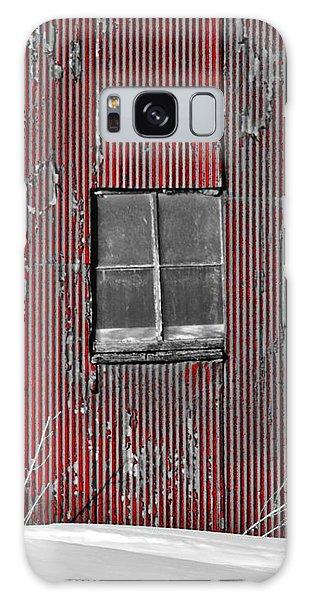 Zink Rd Barn Window Bw Red Galaxy Case by Daniel Thompson
