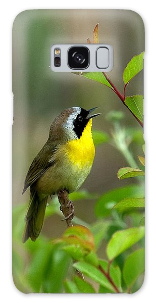 Common Yellowthroat Warbler Warbling Dsb006 Galaxy Case by Gerry Gantt