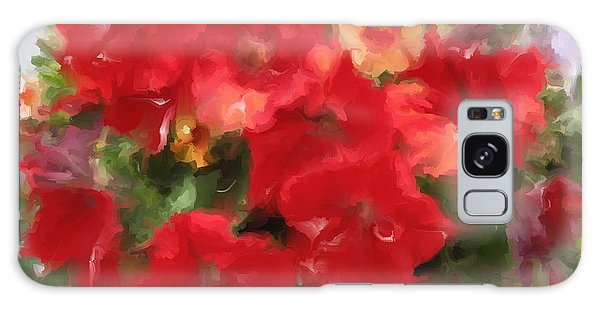 Red Petunia Galaxy Case by Hai Pham