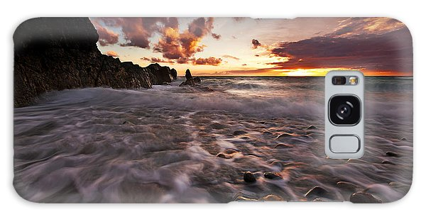 Sunset Tides - Porth Swtan Galaxy Case by Beverly Cash