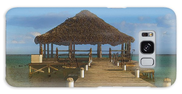 Beach Deck With Palapa Floating In The Water Galaxy Case