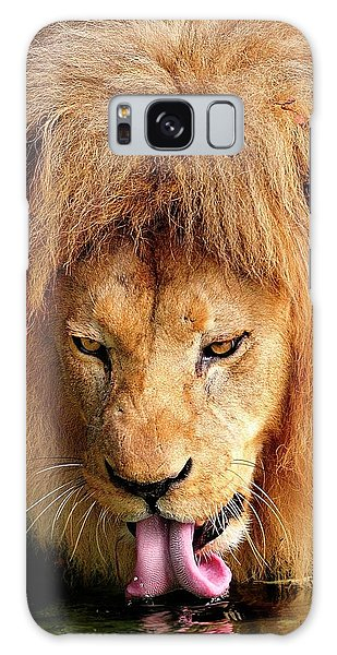 Lion Drinking Galaxy Case
