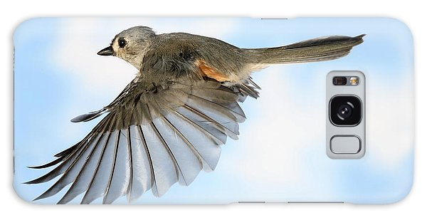 Tufted Titmouse In Flight Galaxy Case