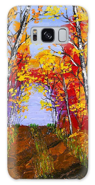 White Birch Tree Abstract Painting In Autumn Galaxy Case by Keith Webber Jr