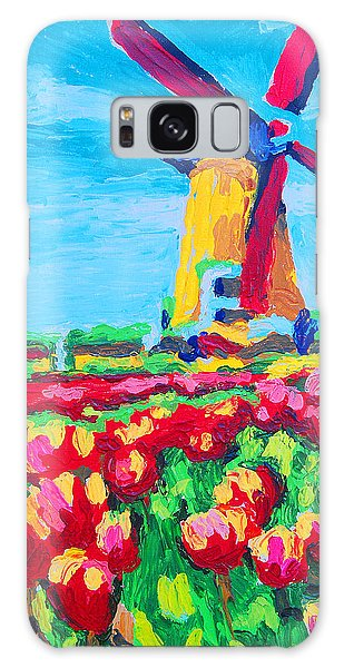 Windmill And Tulips Galaxy Case