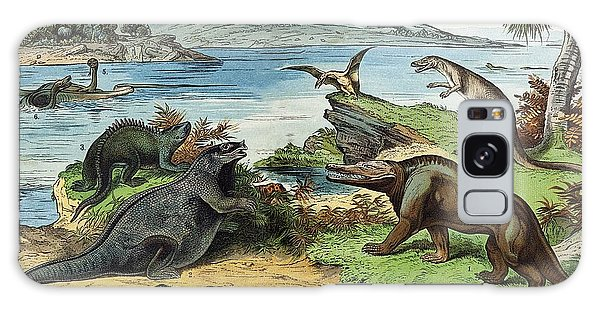 Schubert Galaxy Case - 1888 Colour Litho Of Jurassic Dinosaurs by Paul D Stewart