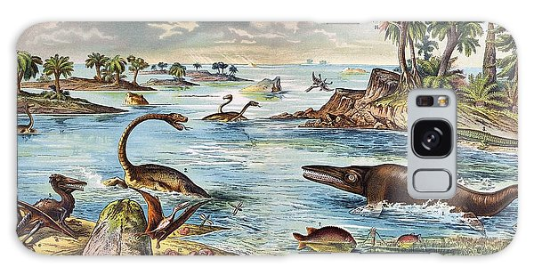 Schubert Galaxy Case - 1888 Colour Lithograph Of Jurassic by Paul D Stewart