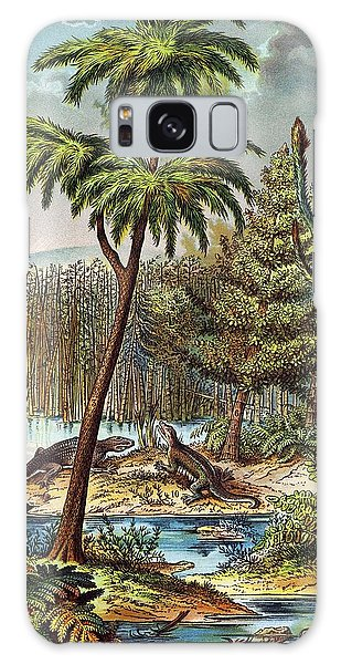 Schubert Galaxy Case - 1888 Colour Lithograph Of Permian Swamp by Paul D Stewart