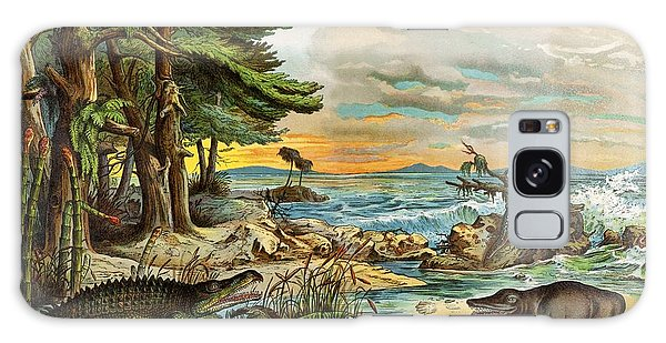 Schubert Galaxy Case - 1888 Colour Lithograph Of Triassic Coast by Paul D Stewart