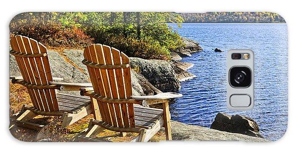 Adirondack Chair Galaxy Case - Adirondack Chairs At Lake Shore by Elena Elisseeva