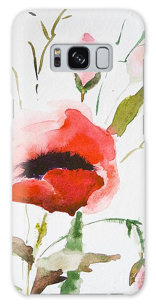 Watercolor Poppy Flower  Galaxy Case