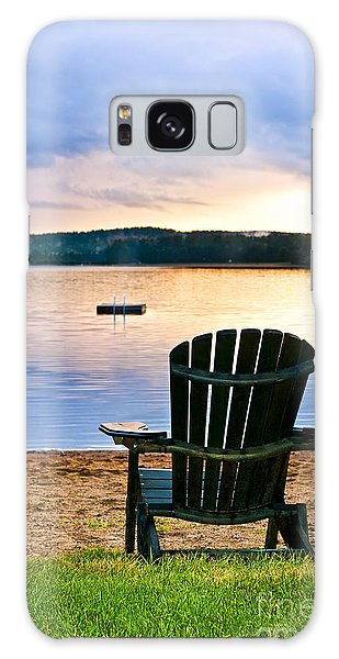 Adirondack Chair Galaxy Case - Wooden Chair At Sunset On Beach by Elena Elisseeva