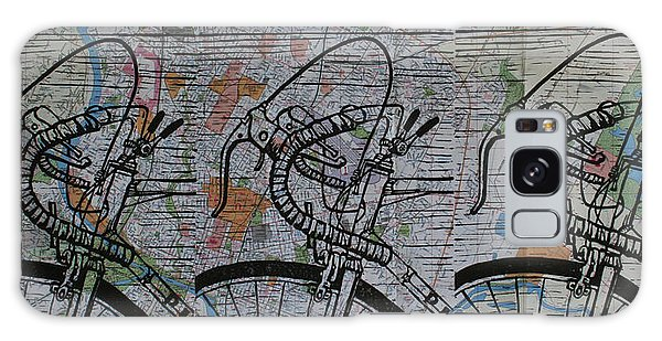 Bike 2 On Map Galaxy Case by William Cauthern