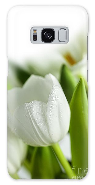 Greeting Galaxy Case - White Tulips by Nailia Schwarz