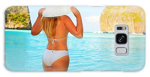 Phi Phi Island Galaxy Case - Woman On The Beach by MotHaiBaPhoto Prints