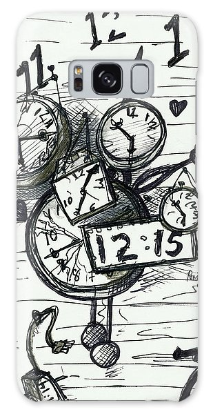 Galaxy Case featuring the painting Broken Clocks by Rene Capone