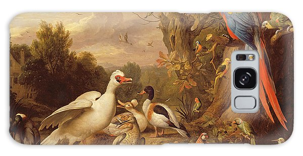 Macaw Galaxy Case - A Macaw - Ducks - Parrots And Other Birds In A Landscape by Jakob Bogdani