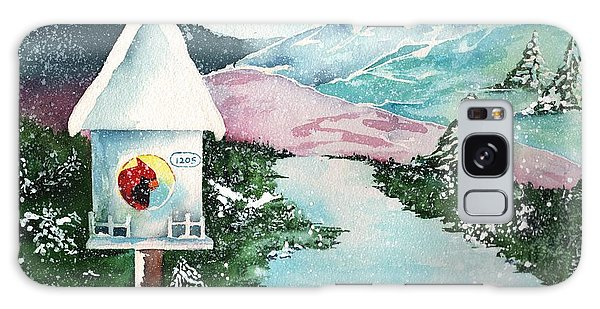 A Snowy Cardinal Day - Christmas Card Galaxy Case by Sharon Mick