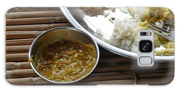 A Typical Plate Of Indian Rajasthani Food On A Bamboo Table Galaxy Case by Ashish Agarwal