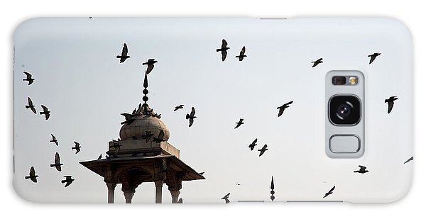 A Whole Flock Of Pigeons On The Top Of The Ramparts Of The Red Fort In New Delhi Galaxy Case by Ashish Agarwal