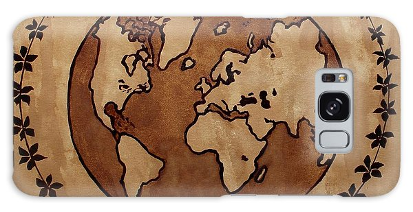Abstract World Globe Map Coffee Painting Galaxy Case