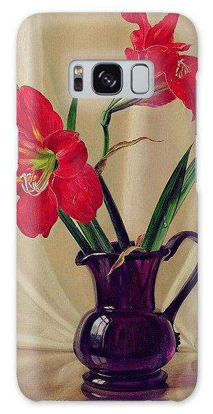 Amaryllis Galaxy Case - Amaryllis Lillies In A Dark Glass Jug by Albert Williams