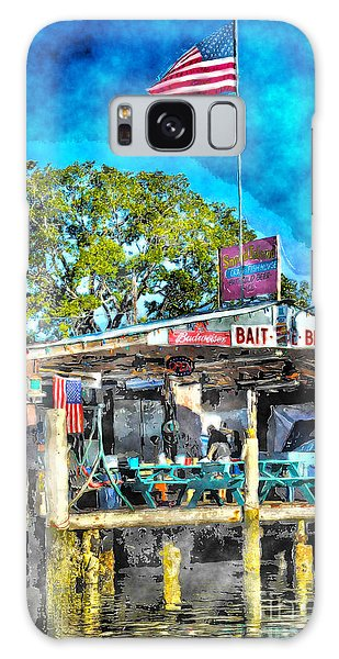 Galaxy Case featuring the photograph American Flag At Bait Shop by Dan Friend