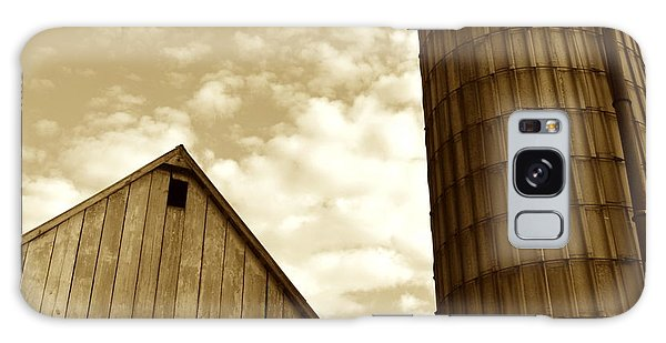 Barn And Silo In Sepia Galaxy Case