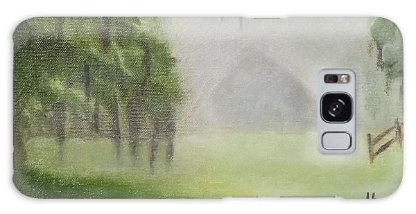 Barn On Foggy Morning Galaxy Case by Margaret Harmon