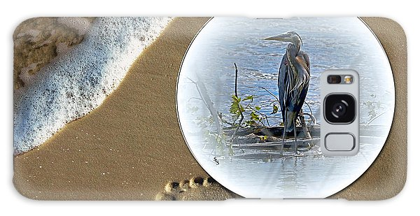 Beached Heron Galaxy Case by Sue Stefanowicz