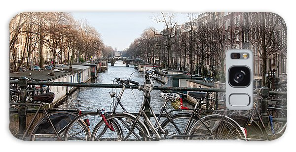 Bikes On The Canal In Amsterdam Galaxy Case by Carol Ailles