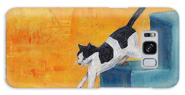 Black And White Cat Descending Blue Stairs Galaxy Case by Terry Taylor