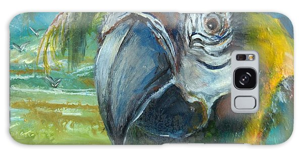 Blue And Gold Macaw By The Sea Galaxy Case by Bernadette Krupa