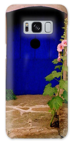 Blue Door And Pink Hollyhocks Galaxy Case